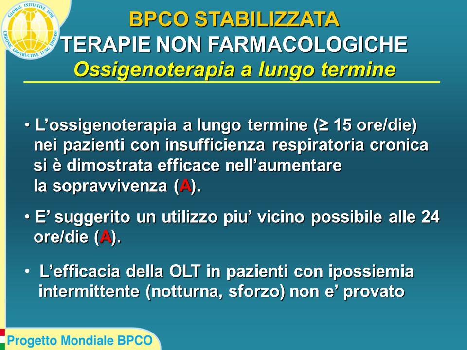 BPCO STABILIZZATA TERAPIE NON FARMACOLOGICHE Ossigenoterapia a lungo termine L'ossigenoterapia a lungo termine (≥ 15 ore/die) L'ossigenoterapia a lungo termine (≥ 15 ore/die) nei pazienti con insufficienza respiratoria cronica nei pazienti con insufficienza respiratoria cronica si è dimostrata efficace nell'aumentare si è dimostrata efficace nell'aumentare la sopravvivenza (A).