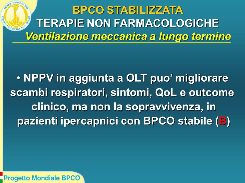 BPCO STABILIZZATA TERAPIE NON FARMACOLOGICHE Ventilazione meccanica a lungo termine NPPV in aggiunta a OLT puo' migliorare NPPV in aggiunta a OLT puo' migliorare scambi respiratori, sintomi, QoL e outcome clinico, ma non la sopravvivenza, in pazienti ipercapnici con BPCO stabile (B)