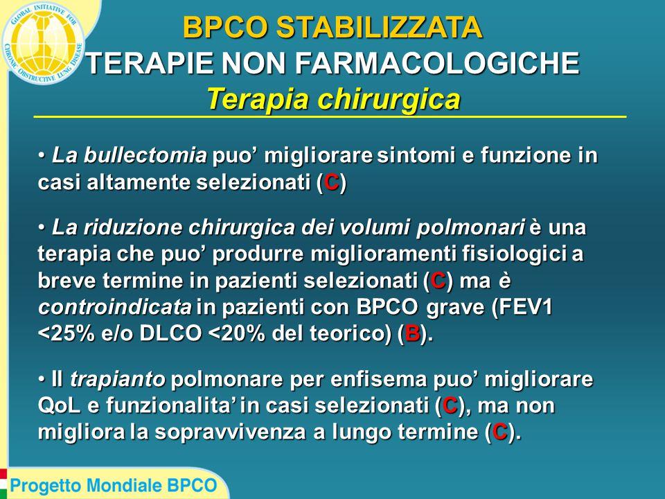 BPCO STABILIZZATA TERAPIE NON FARMACOLOGICHE Terapia chirurgica La bullectomia puo' migliorare sintomi e funzione in casi altamente selezionati (C) La bullectomia puo' migliorare sintomi e funzione in casi altamente selezionati (C) La riduzione chirurgica dei volumi polmonari è una terapia che puo' produrre miglioramenti fisiologici a breve termine in pazienti selezionati (C) ma è controindicata in pazienti con BPCO grave (FEV1 <25% e/o DLCO <20% del teorico) (B).
