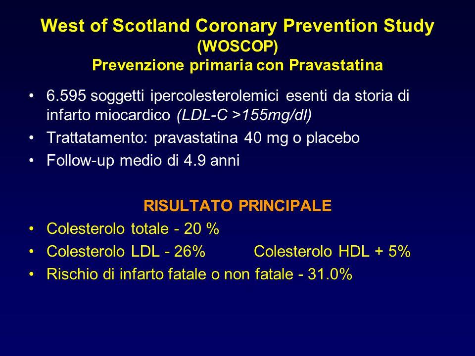 West of Scotland Coronary Prevention Study (WOSCOP) Prevenzione primaria con Pravastatina 6.595 soggetti ipercolesterolemici esenti da storia di infar