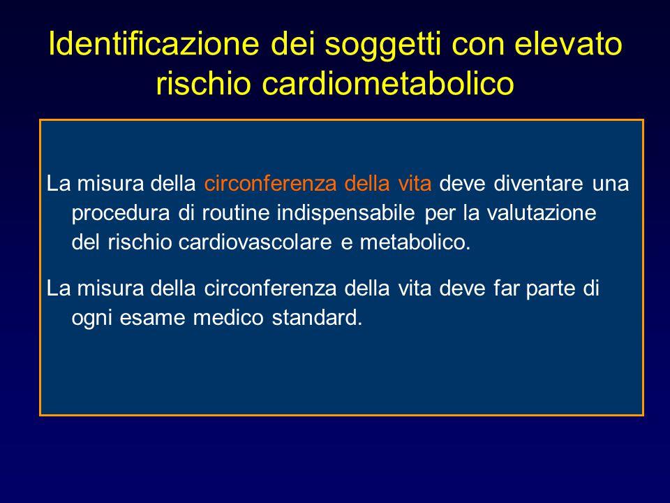 Identificazione dei soggetti con elevato rischio cardiometabolico La misura della circonferenza della vita deve diventare una procedura di routine ind