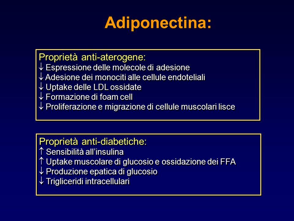 Adiponectina: Proprietà anti-aterogene:  Espressione delle molecole di adesione  Adesione dei monociti alle cellule endoteliali  Uptake delle LDL o