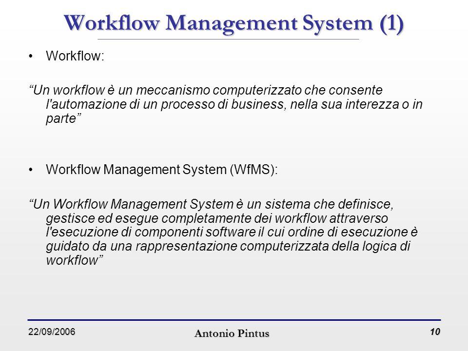 22/09/2006 Antonio Pintus 10 Workflow Management System (1) Workflow: Un workflow è un meccanismo computerizzato che consente l automazione di un processo di business, nella sua interezza o in parte Workflow Management System (WfMS): Un Workflow Management System è un sistema che definisce, gestisce ed esegue completamente dei workflow attraverso l esecuzione di componenti software il cui ordine di esecuzione è guidato da una rappresentazione computerizzata della logica di workflow