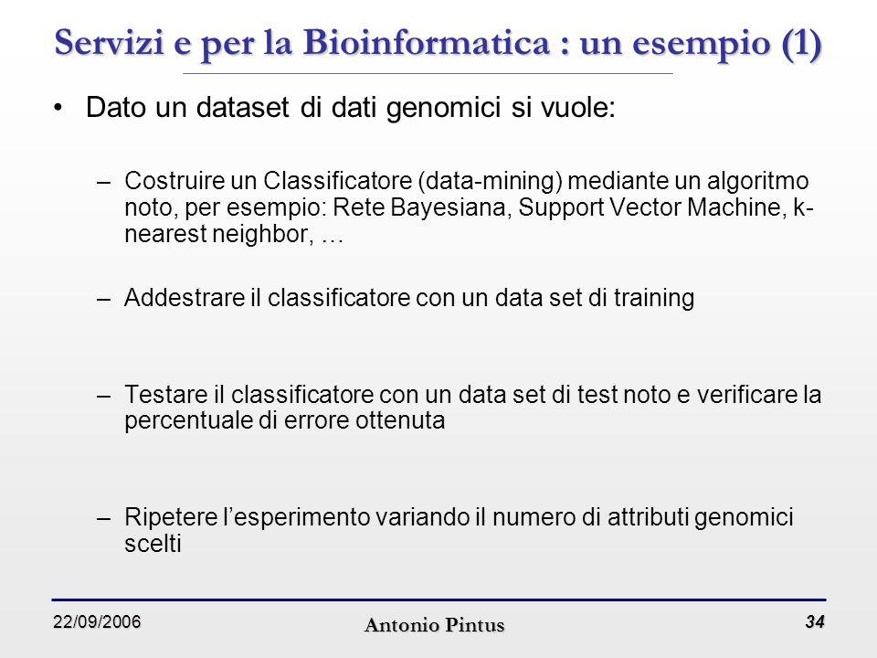 22/09/2006 Antonio Pintus 34 Servizi e per la Bioinformatica : un esempio (1) Dato un dataset di dati genomici si vuole: –Costruire un Classificatore (data-mining) mediante un algoritmo noto, per esempio: Rete Bayesiana, Support Vector Machine, k- nearest neighbor, … –Addestrare il classificatore con un data set di training –Testare il classificatore con un data set di test noto e verificare la percentuale di errore ottenuta –Ripetere l'esperimento variando il numero di attributi genomici scelti