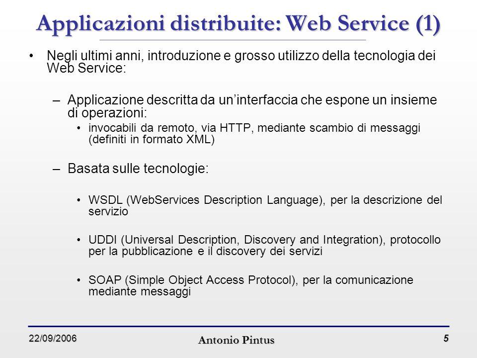 22/09/2006 Antonio Pintus 6 Applicazioni distribuite: Web Service (1) Principali attori nelle applicazioni basate su Web Service