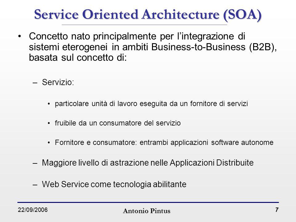 22/09/2006 Antonio Pintus 18 Workflow Management System: Triana (1) WfMS orientato all'e-Science (non solo esperimenti di bioinformatica ma anche per elaborazione dei segnali, delle immagini, …) Progetto dell'Università di Cardiff Distribuito con una licenza basata sulla Apache Software License