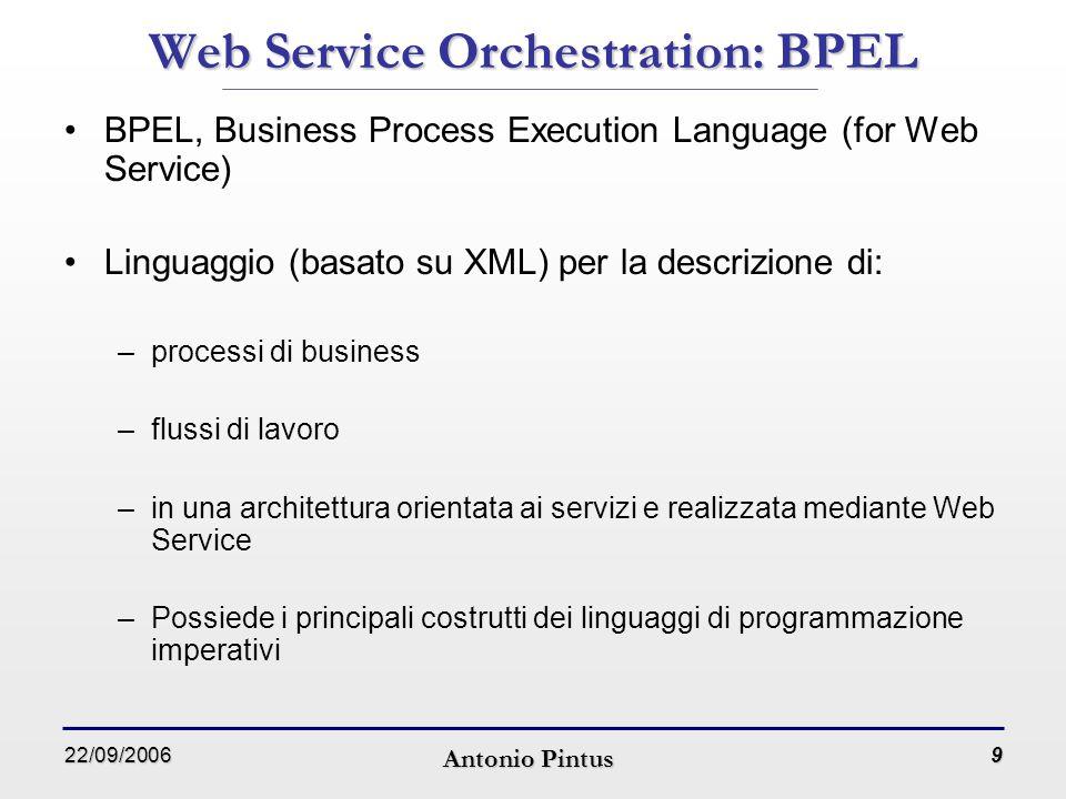 22/09/2006 Antonio Pintus 20 Workflow Management System: Triana (3) Multipiattaforma, scritto in Java Possibilità di pubblicare automaticamente un intero workflow come Web Service su un registro UDDI Linguaggio di definizione dei workflow basato su XML e simile al WSFL (Web Service Flow Language)