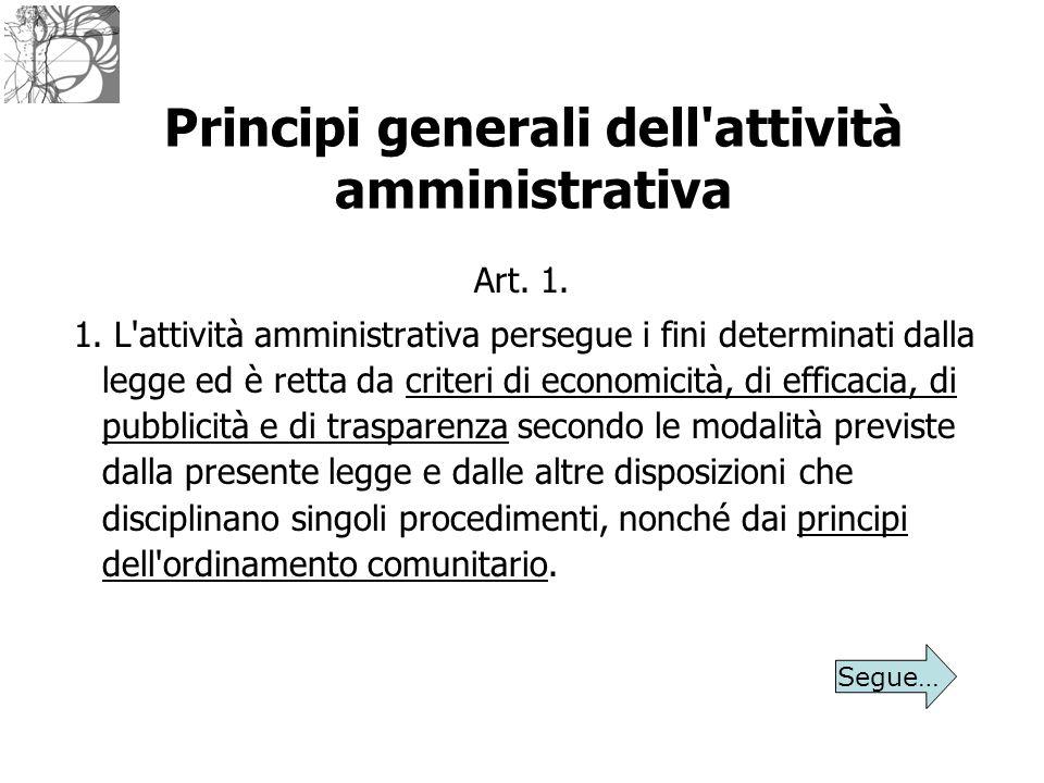 Principi generali dell'attività amministrativa Art. 1. 1. L'attività amministrativa persegue i fini determinati dalla legge ed è retta da criteri di e