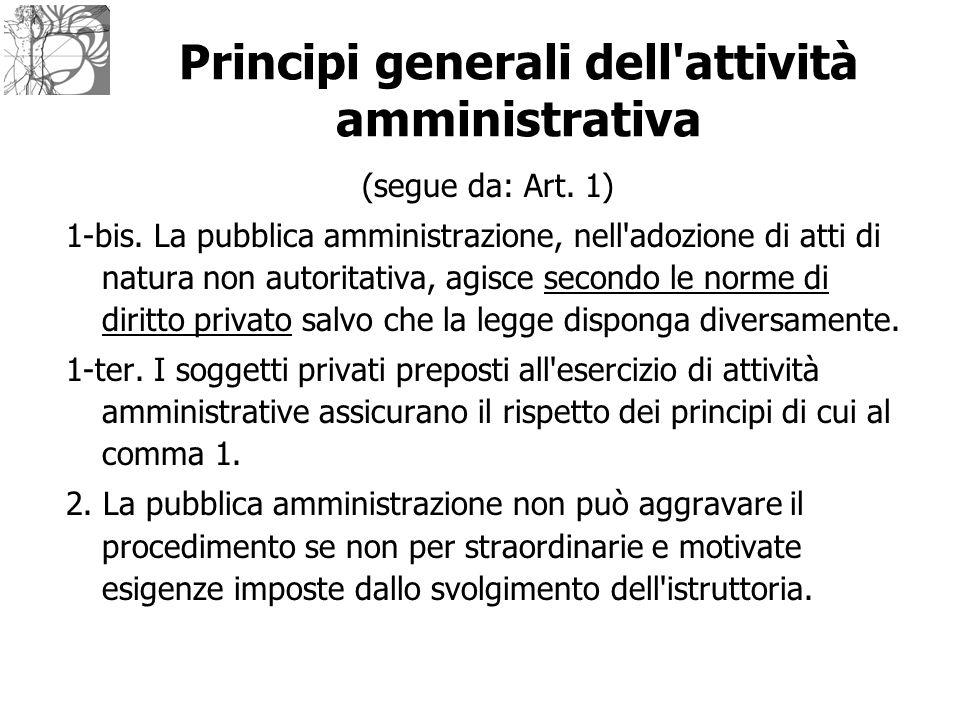 Principi generali dell'attività amministrativa (segue da: Art. 1) 1-bis. La pubblica amministrazione, nell'adozione di atti di natura non autoritativa
