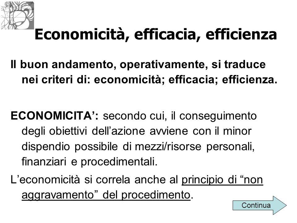 Economicità, efficacia, efficienza Il buon andamento, operativamente, si traduce nei criteri di: economicità; efficacia; efficienza. ECONOMICITA': sec