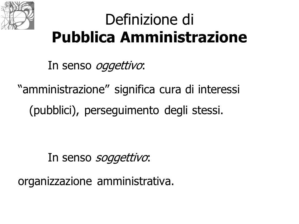 """In senso oggettivo: """"amministrazione"""" significa cura di interessi (pubblici), perseguimento degli stessi. In senso soggettivo: organizzazione amminist"""
