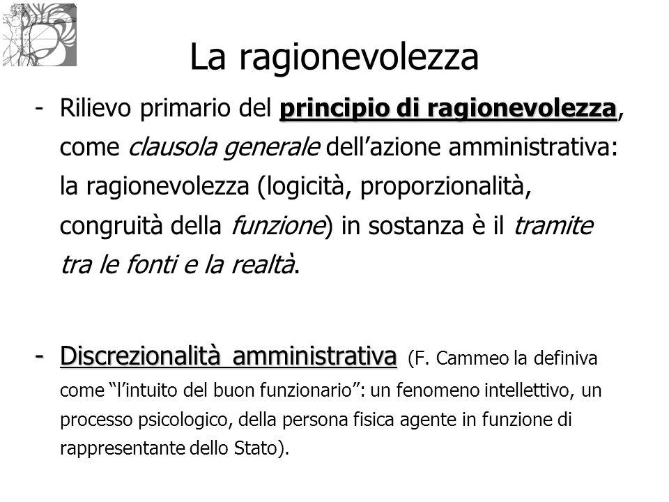 La ragionevolezza principio di ragionevolezza -Rilievo primario del principio di ragionevolezza, come clausola generale dell'azione amministrativa: la