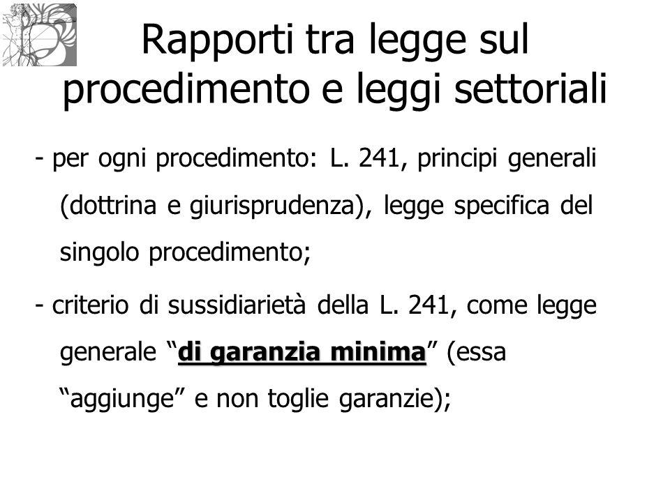 Rapporti tra legge sul procedimento e leggi settoriali - per ogni procedimento: L. 241, principi generali (dottrina e giurisprudenza), legge specifica