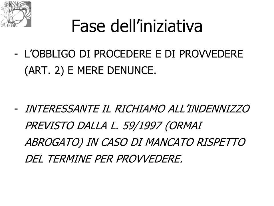 Fase dell'iniziativa -L'OBBLIGO DI PROCEDERE E DI PROVVEDERE (ART. 2) E MERE DENUNCE. -INTERESSANTE IL RICHIAMO ALL'INDENNIZZO PREVISTO DALLA L. 59/19