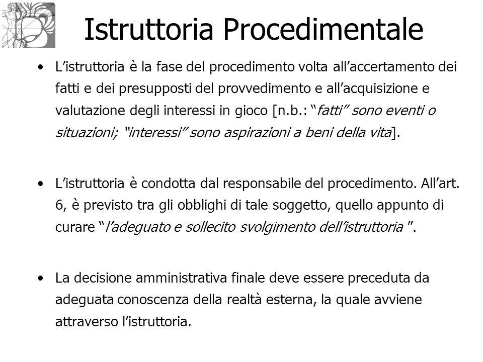 Istruttoria Procedimentale L'istruttoria è la fase del procedimento volta all'accertamento dei fatti e dei presupposti del provvedimento e all'acquisi