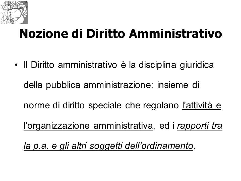 Il Diritto amministrativo è la disciplina giuridica della pubblica amministrazione: insieme di norme di diritto speciale che regolano l'attività e l'o