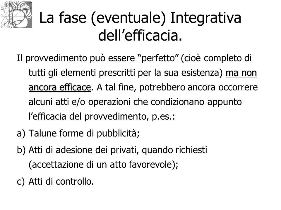 """La fase (eventuale) Integrativa dell'efficacia. ma non ancora efficace Il provvedimento può essere """"perfetto"""" (cioè completo di tutti gli elementi pre"""
