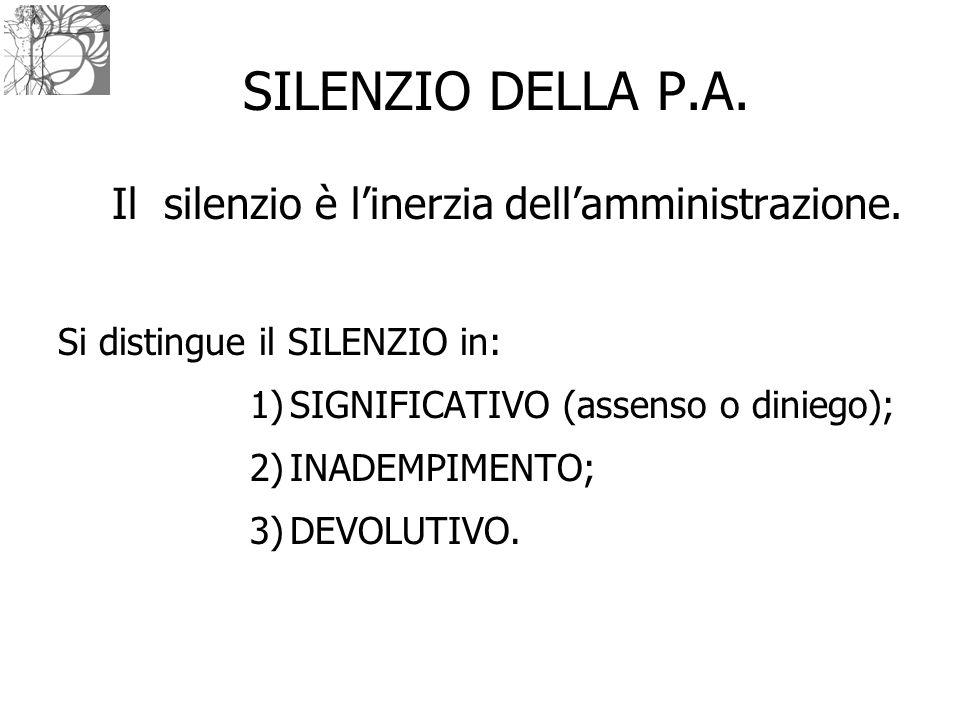 SILENZIO DELLA P.A. Il silenzio è l'inerzia dell'amministrazione. Si distingue il SILENZIO in: 1)SIGNIFICATIVO (assenso o diniego); 2)INADEMPIMENTO; 3
