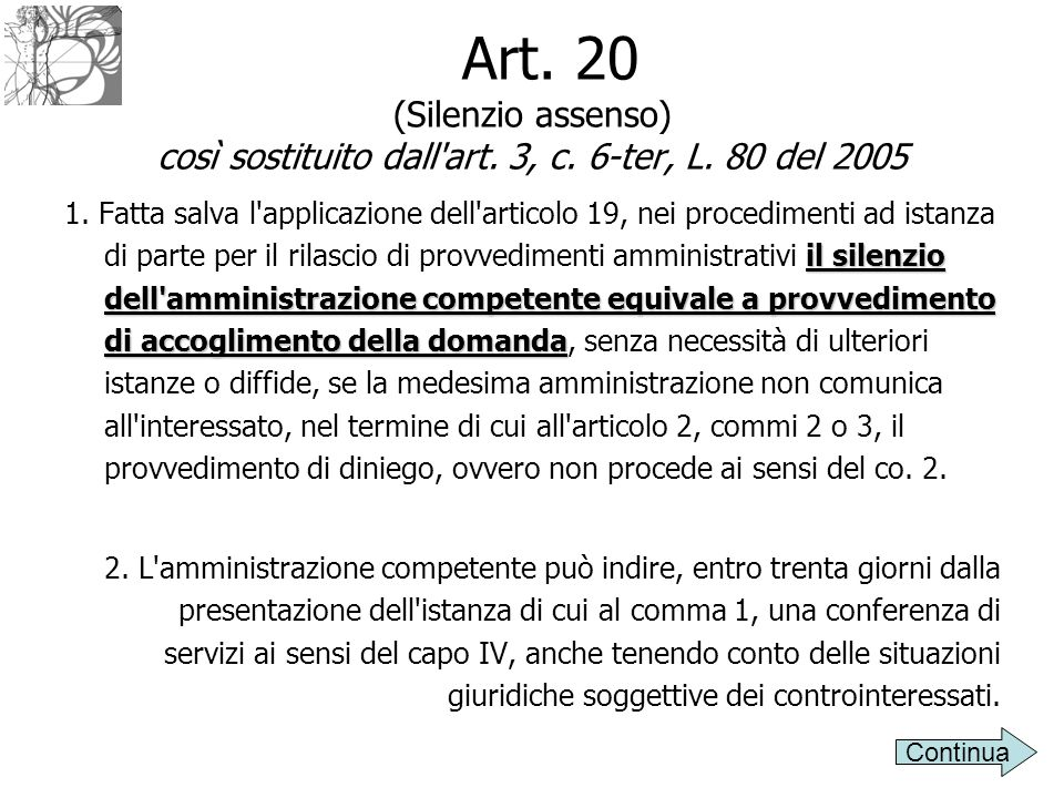 Art. 20 (Silenzio assenso) così sostituito dall'art. 3, c. 6-ter, L. 80 del 2005 il silenzio dell'amministrazione competente equivale a provvedimento