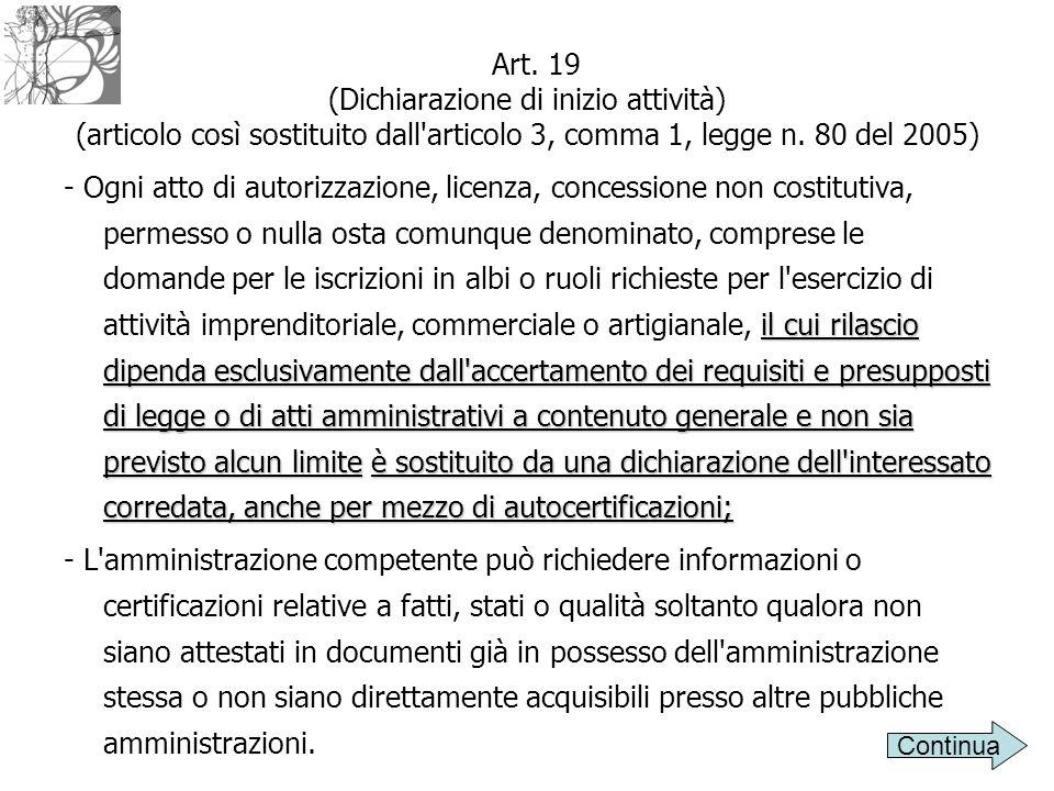 Art. 19 (Dichiarazione di inizio attività) (articolo così sostituito dall'articolo 3, comma 1, legge n. 80 del 2005) il cui rilascio dipenda esclusiva