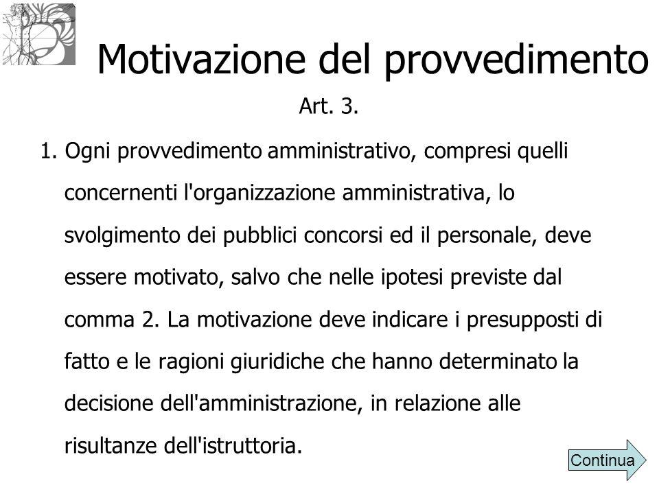 Motivazione del provvedimento Art. 3. 1. Ogni provvedimento amministrativo, compresi quelli concernenti l'organizzazione amministrativa, lo svolgiment