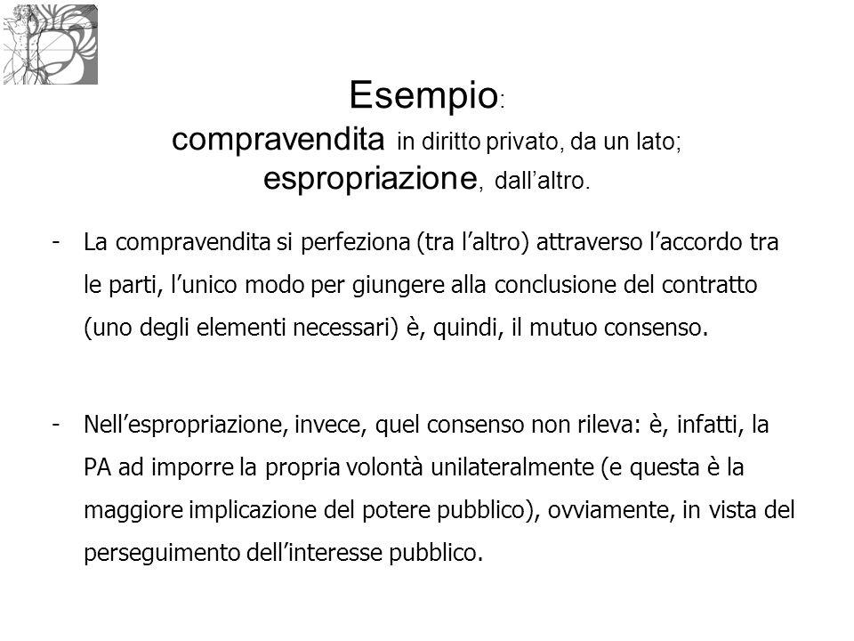 Esempio : compravendita in diritto privato, da un lato; espropriazione, dall'altro. -La compravendita si perfeziona (tra l'altro) attraverso l'accordo