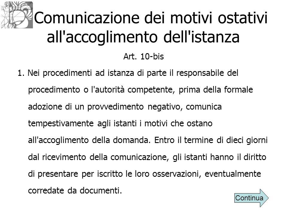 Comunicazione dei motivi ostativi all'accoglimento dell'istanza Art. 10-bis 1. Nei procedimenti ad istanza di parte il responsabile del procedimento o