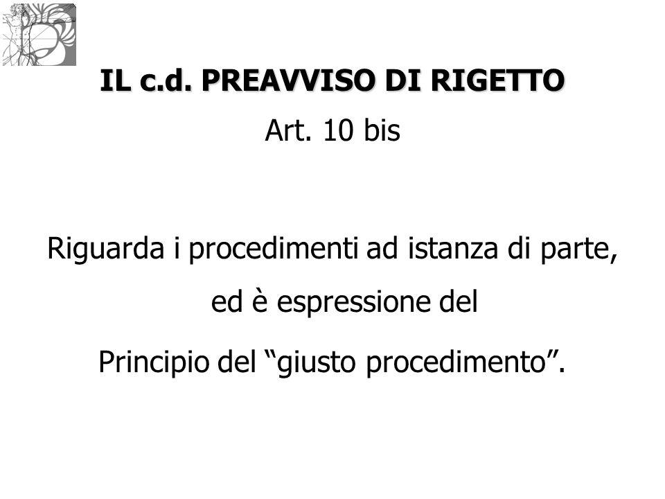 """IL c.d. PREAVVISO DI RIGETTO Art. 10 bis Riguarda i procedimenti ad istanza di parte, ed è espressione del Principio del """"giusto procedimento""""."""