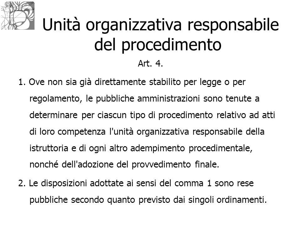Unità organizzativa responsabile del procedimento Art. 4. 1. Ove non sia già direttamente stabilito per legge o per regolamento, le pubbliche amminist