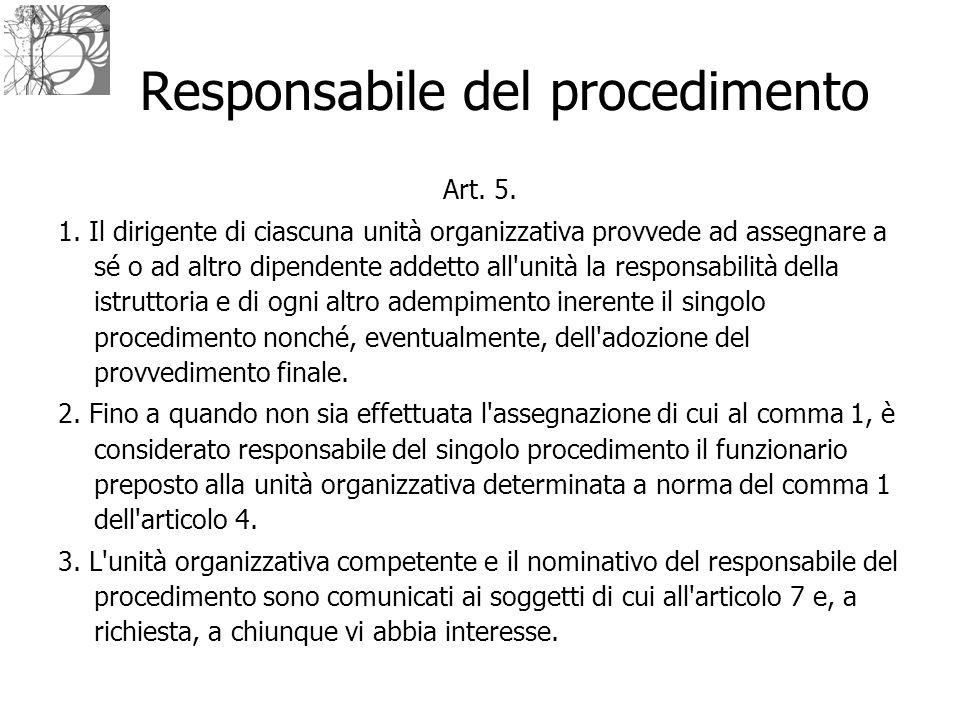Responsabile del procedimento Art. 5. 1. Il dirigente di ciascuna unità organizzativa provvede ad assegnare a sé o ad altro dipendente addetto all'uni