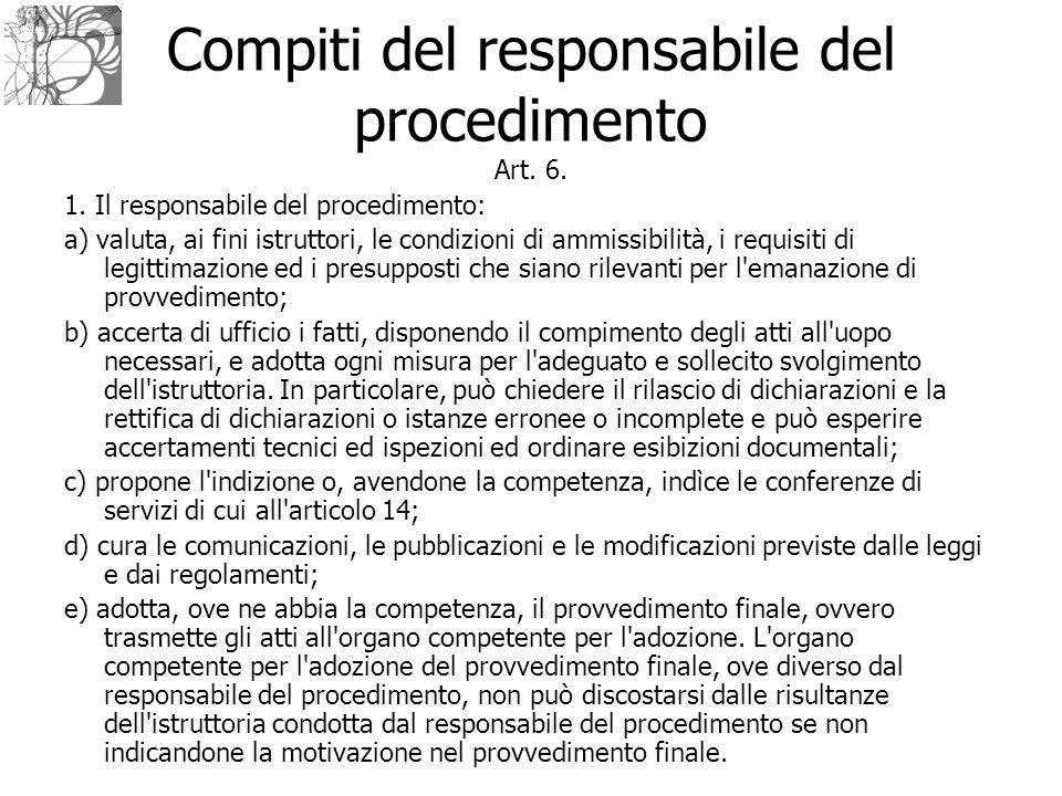 Compiti del responsabile del procedimento Art. 6. 1. Il responsabile del procedimento: a) valuta, ai fini istruttori, le condizioni di ammissibilità,