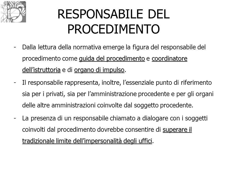 RESPONSABILE DEL PROCEDIMENTO guida del procedimentocoordinatore dell'istruttoriaorgano di impulso -Dalla lettura della normativa emerge la figura del