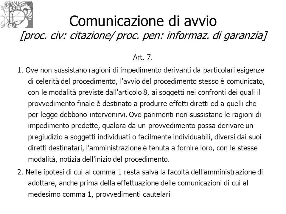 Comunicazione di avvio [proc. civ: citazione/ proc. pen: informaz. di garanzia] Art. 7. 1. Ove non sussistano ragioni di impedimento derivanti da part