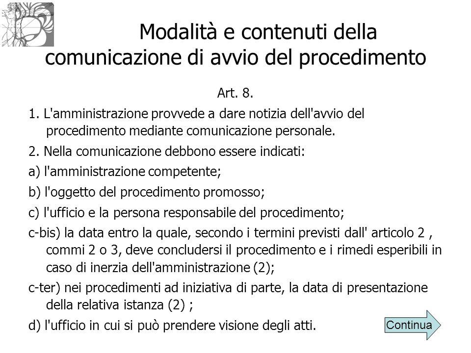 Modalità e contenuti della comunicazione di avvio del procedimento Art. 8. 1. L'amministrazione provvede a dare notizia dell'avvio del procedimento me