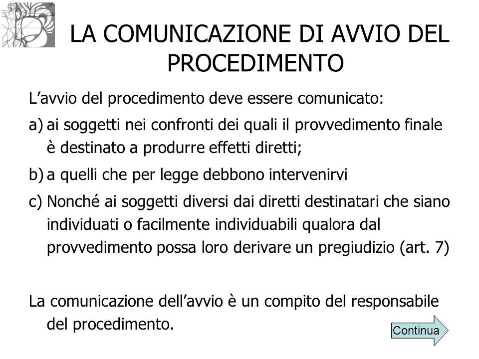 LA COMUNICAZIONE DI AVVIO DEL PROCEDIMENTO L'avvio del procedimento deve essere comunicato: a)ai soggetti nei confronti dei quali il provvedimento fin