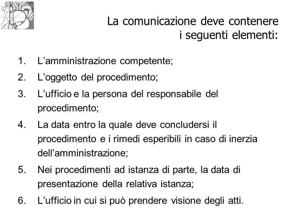 La comunicazione deve contenere i seguenti elementi: 1.L'amministrazione competente; 2.L'oggetto del procedimento; 3.L'ufficio e la persona del respon
