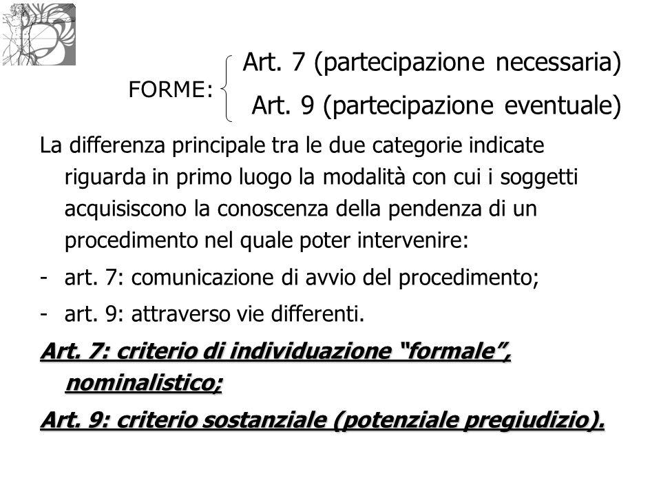 Art. 7 (partecipazione necessaria) Art. 9 (partecipazione eventuale) La differenza principale tra le due categorie indicate riguarda in primo luogo la