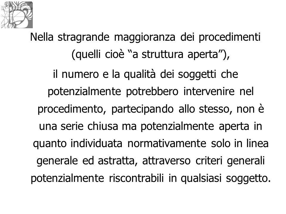 """Nella stragrande maggioranza dei procedimenti (quelli cioè """"a struttura aperta""""), il numero e la qualità dei soggetti che potenzialmente potrebbero in"""