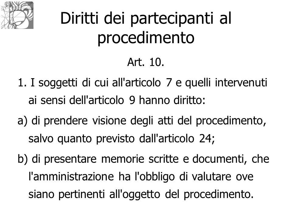 Diritti dei partecipanti al procedimento Art. 10. 1. I soggetti di cui all'articolo 7 e quelli intervenuti ai sensi dell'articolo 9 hanno diritto: a)
