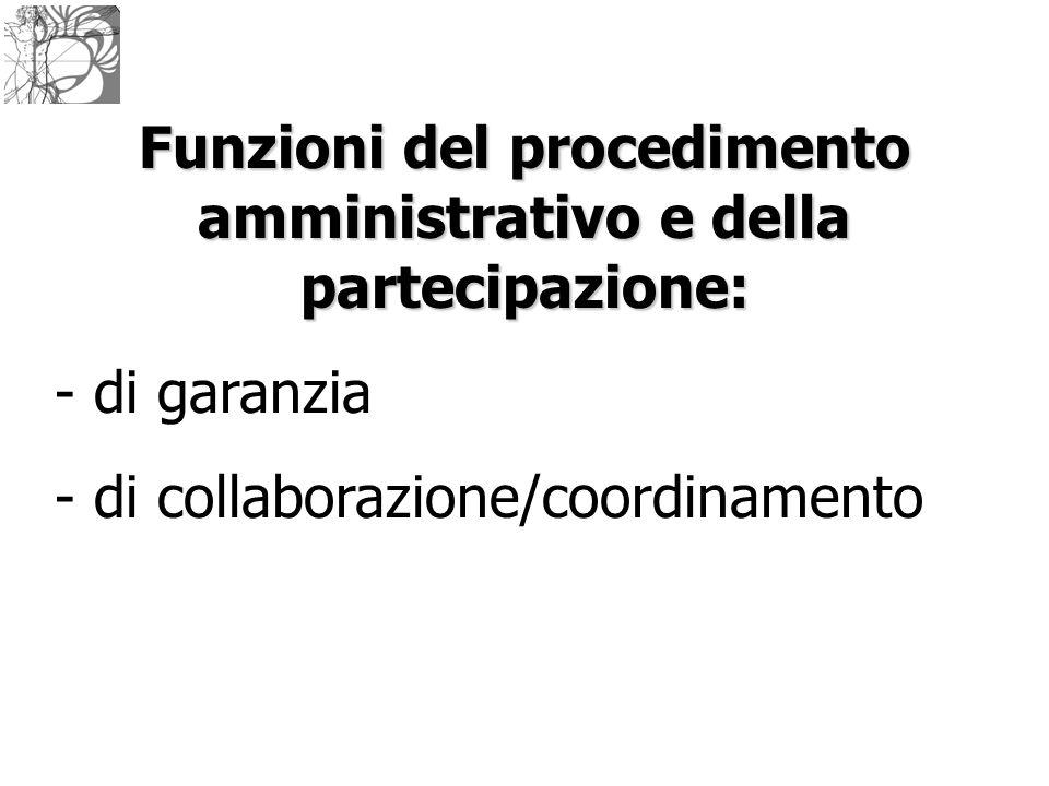 Funzioni del procedimento amministrativo e della partecipazione: - di garanzia - di collaborazione/coordinamento