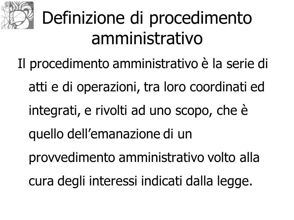Il procedimento amministrativo è la serie di atti e di operazioni, tra loro coordinati ed integrati, e rivolti ad uno scopo, che è quello dell'emanazi
