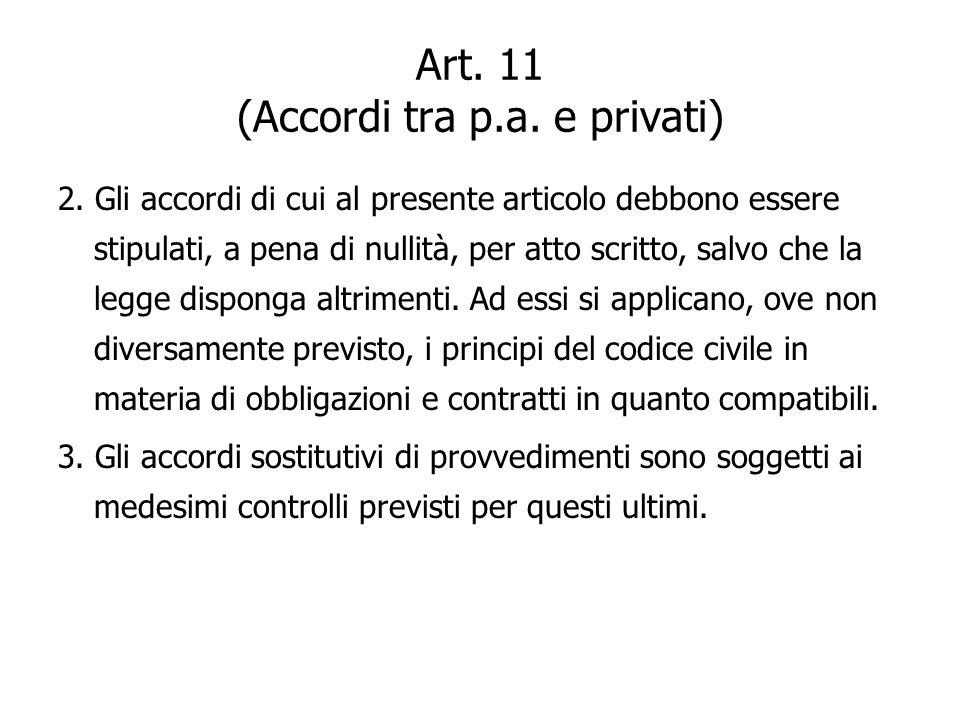 Art. 11 (Accordi tra p.a. e privati) 2. Gli accordi di cui al presente articolo debbono essere stipulati, a pena di nullità, per atto scritto, salvo c