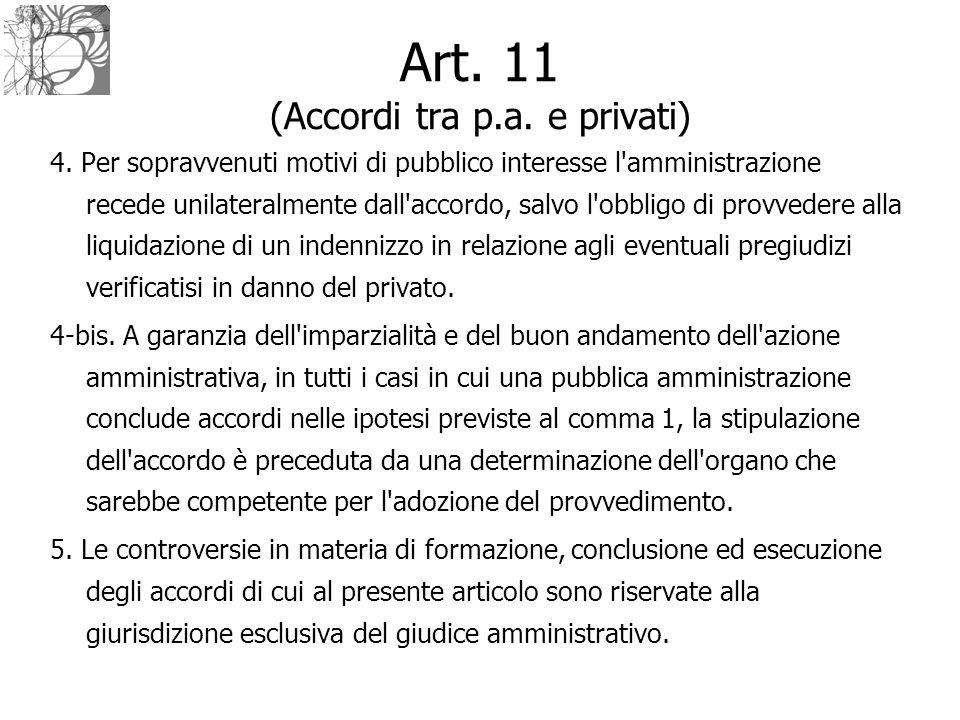 Art. 11 (Accordi tra p.a. e privati) 4. Per sopravvenuti motivi di pubblico interesse l'amministrazione recede unilateralmente dall'accordo, salvo l'o