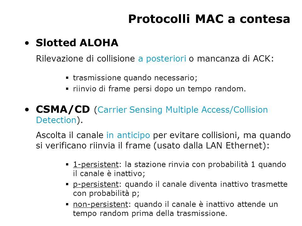 Slotted ALOHA Rilevazione di collisione a posteriori o mancanza di ACK:  trasmissione quando necessario;  riinvio di frame persi dopo un tempo random.