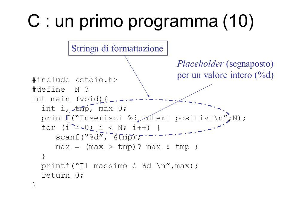 C : un primo programma (10) #include #define N 3 int main (void){ int i, tmp, max=0; printf( Inserisci %d interi positivi\n ,N); for (i = 0; i < N; i++) { scanf( %d , &tmp); max = (max > tmp).