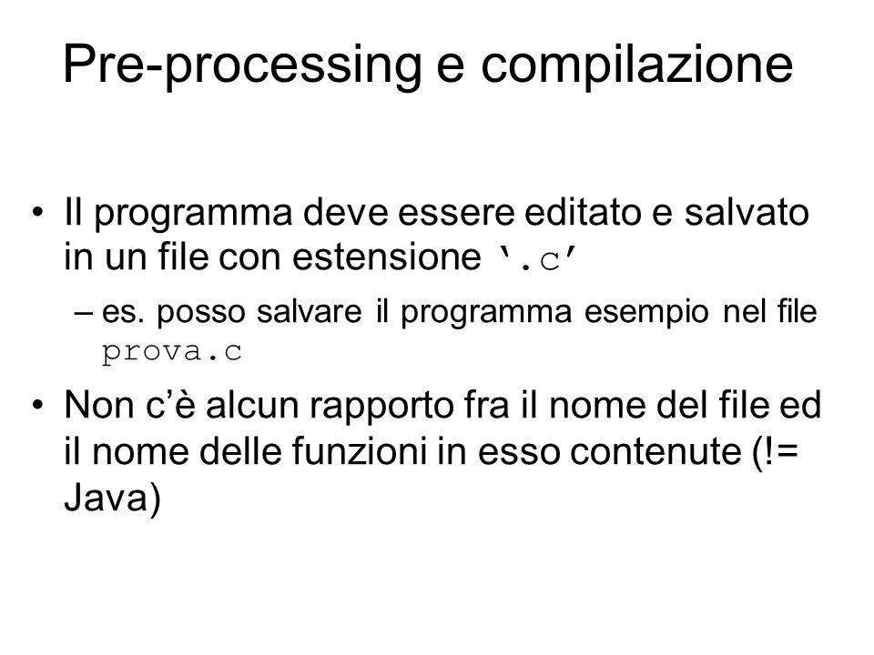 Pre-processing e compilazione Il programma deve essere editato e salvato in un file con estensione '.c' –es.
