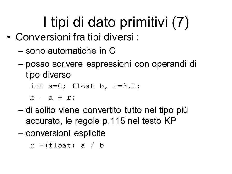I tipi di dato primitivi (7) Conversioni fra tipi diversi : –sono automatiche in C –posso scrivere espressioni con operandi di tipo diverso int a=0; float b, r=3.1; b = a + r; –di solito viene convertito tutto nel tipo più accurato, le regole p.115 nel testo KP –conversioni esplicite r =(float) a / b