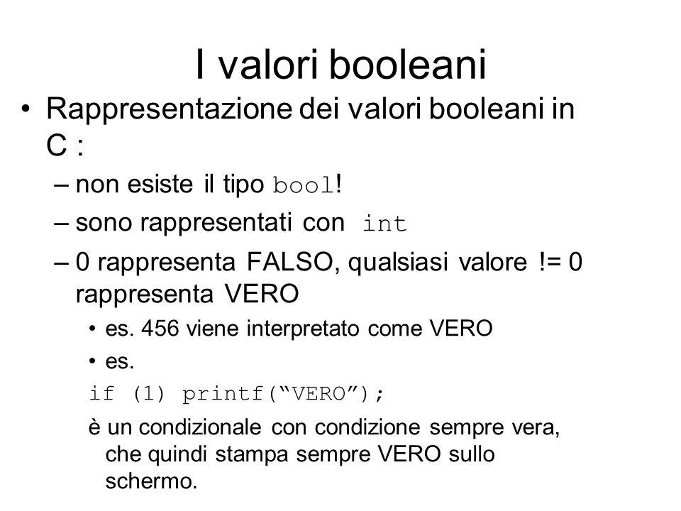 I valori booleani Rappresentazione dei valori booleani in C : –non esiste il tipo bool .