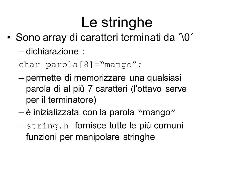 Le stringhe Sono array di caratteri terminati da ´\0´ –dichiarazione : char parola[8]= mango ; –permette di memorizzare una qualsiasi parola di al più 7 caratteri (l'ottavo serve per il terminatore) –è inizializzata con la parola mango –string.h fornisce tutte le più comuni funzioni per manipolare stringhe