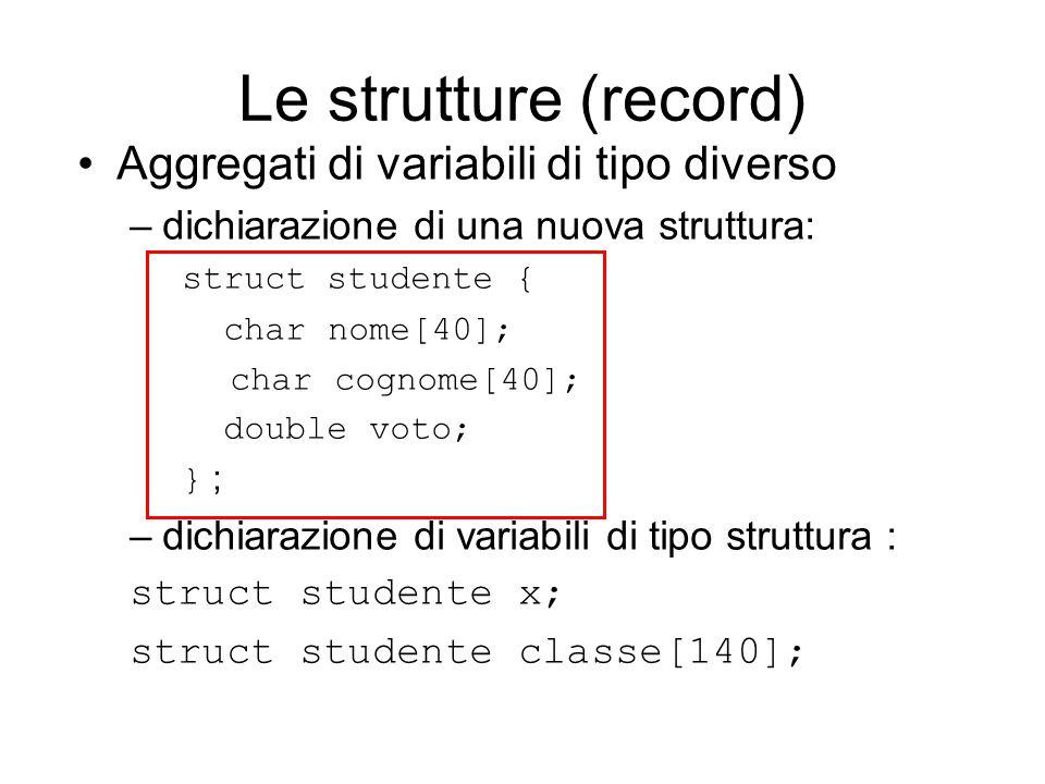 Le strutture (record) Aggregati di variabili di tipo diverso –dichiarazione di una nuova struttura: struct studente { char nome[40]; char cognome[40]; double voto; } ; –dichiarazione di variabili di tipo struttura : struct studente x; struct studente classe[140];